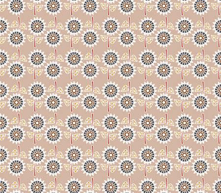 wallpaper doodle: decorative sunflowers seamless pattern. Floral ornament wallpaper. Colorful doodle flower background.