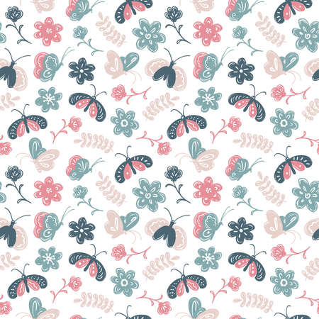 wallpaper doodle: seamless pattern with cute butterfly and flowers in a childrens doodle style. Nature element wallpaper.