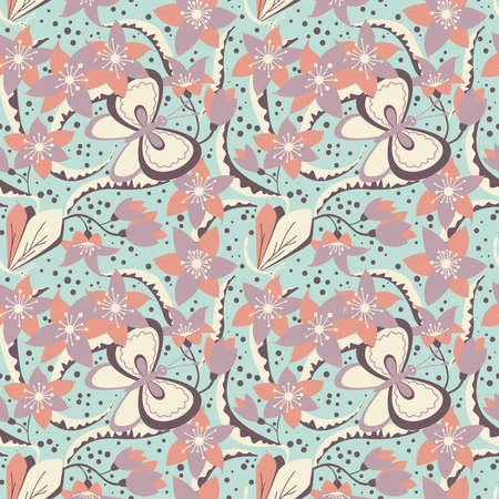 fragility: Floral seamless pattern with cute butterfly and dragonfly. Nature  blossom elegance wallpaper Illustration