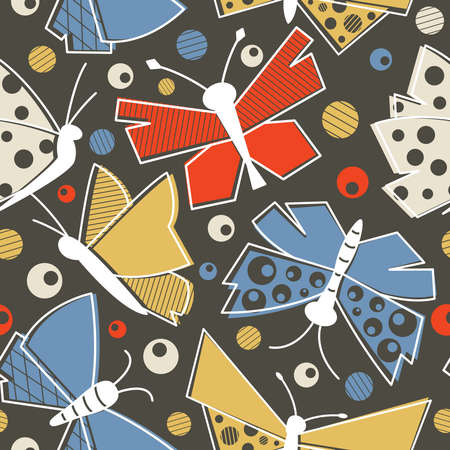 wallpaper doodle: flying butterflies seamless pattern in vintage style textile.  Old-fashioned drawing insect doodle wallpaper.