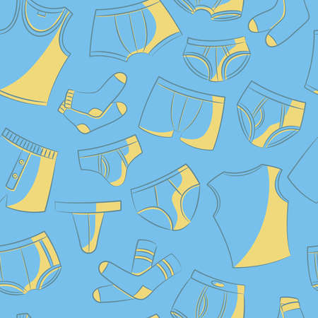 Doodle set with mens underwear seamless pattern. Casual underclothes for boys cartoon background. Illustration