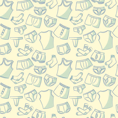 hosiery: Doodle set with mens underwear seamless pattern. Casual underclothes for boys cartoon background. Illustration