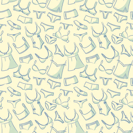 Doodle set with womens underwear seamless pattern. Casual underclothes for girls cartoon background.