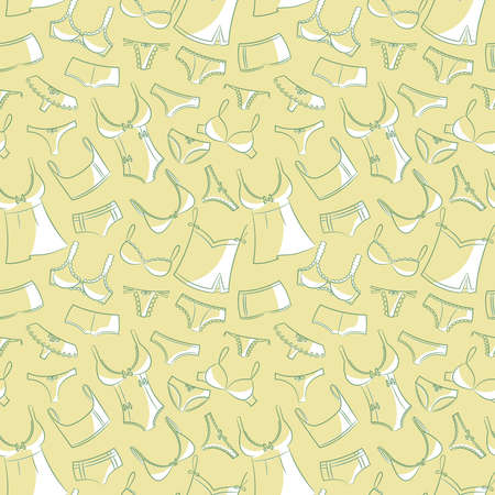 underclothes: Doodle set with womens underwear seamless pattern. Casual underclothes for girls cartoon background.
