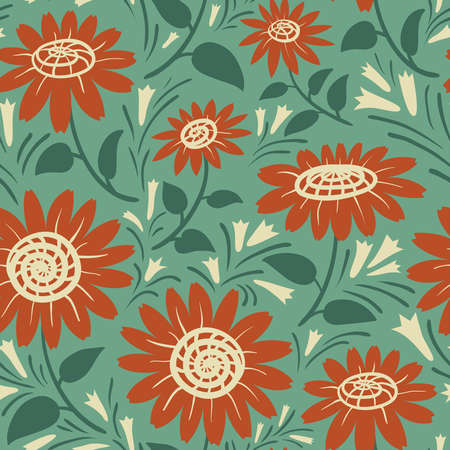 decorative wallpaper: Decorative sunflowers seamless pattern. Summer flowers background. Fashion style floral colorful wallpaper.