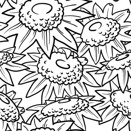 wallpaper doodle: Decorative sunflowers seamless pattern. Summer flowers background. Doodle decor style florall wallpaper. Illustration