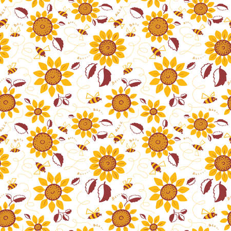 decorative wallpaper: Decorative sunflowers seamless pattern. Summer flowers and cute bees background. Doodle decor style floral colorful wallpaper.