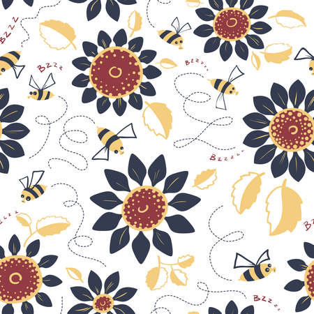 wallpaper doodle: Decorative sunflowers seamless pattern. Summer flowers and cute bees background. Doodle decor style floral colorful wallpaper.