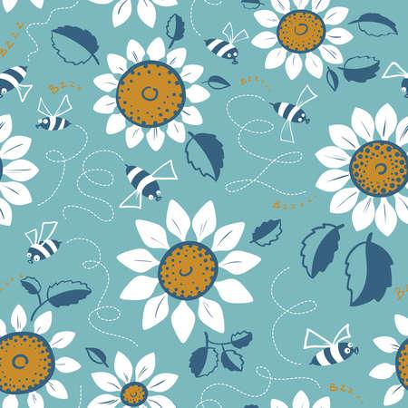 Decoratief zonnebloemen naadloos patroon. Zomerbloemen en schattige bijen achtergrond. Doodle decor stijl bloemen kleurrijk behang.
