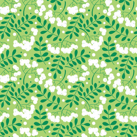 rowanberry: seamless pattern with rowanberry leaves and berries. Natural decorative background with fall plants.