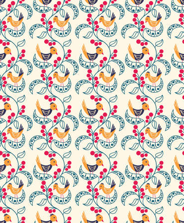 Vector seamless pattern with berries, leaves and birds. Nature background with plants and animals.