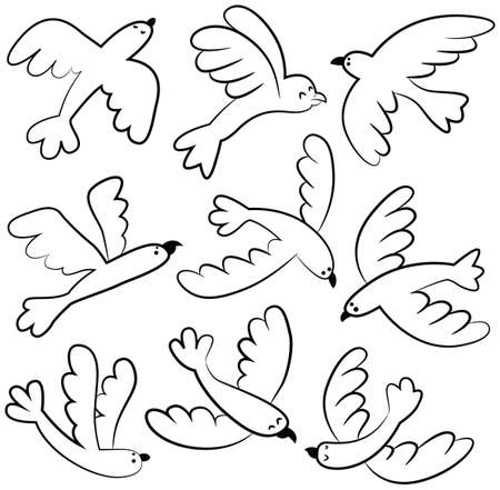 animals collection: Collection of vector cute flying birds isolated on white. Cartoon set with doodle animals.