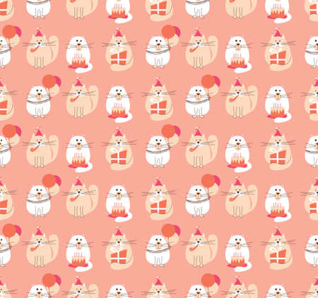 meow: Vector seamless pattern with cute holidays cats. B-day background with pets, cakes and baloons. Illustration