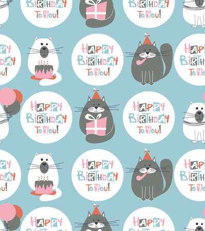 birthday greetings: Vector seamless pattern with cute holidays cats and Happy Birthday lettering. B-day background with pets, cakes, baloons and greetings.