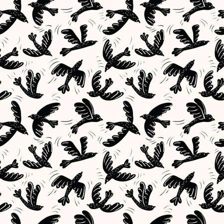 oiseau dessin: vecteur Cartoon silhouette noire oiseaux volants seamless pattern. fond décoration animale.