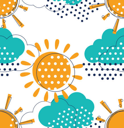 overcast: Vector seamless pattern with cute sun and rain clouds. Doodle drawing style background with weather symbols. Illustration