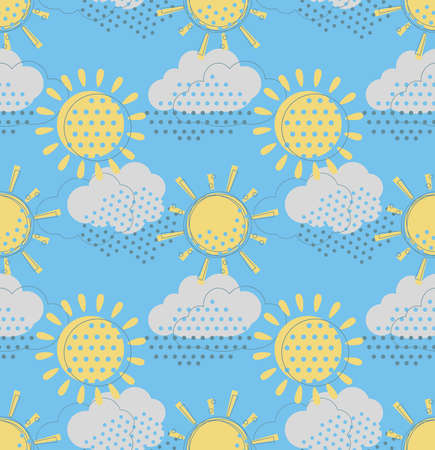 cloudiness: Vector seamless pattern with cute sun and rain clouds. Doodle drawing style background with weather symbols. Illustration