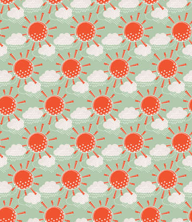 cloudiness: Vector seamless pattern background with weather symbols.