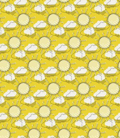 Vector seamless pattern with cute sun and rain clouds. Doodle drawing style background with weather symbols. Illustration