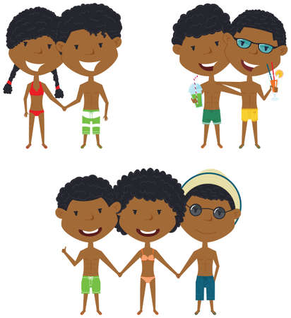 male friends: Beach African-American people standing and holding hands. Vector set of happy boys and girls. Collection of cute female and male characters. Smiling friends on summer vacation.
