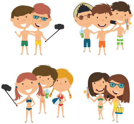 Beach male and female characters make a selfie vector illustration. Happy cute girls and boys do group summer photos. Friendly children posing in front of the camera smartphone. Illustration