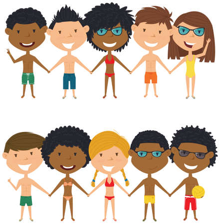 people  male: Multiracial beach people standing and holding hands. Vector set of multicultural happy boys and girls. Collection of cute female and male characters. Happy teenagers on summer vacation.