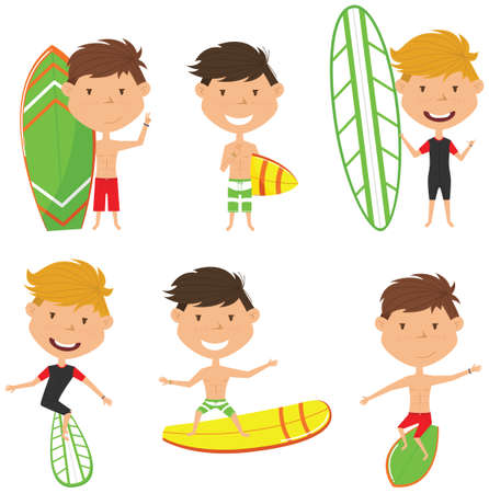 handsome boys: Surfing male characters vector set. Handsome boys with surface board. Summer beach man activities. Cute young surfers isolated on white background.