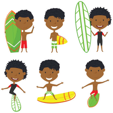 handsome boys: Surfing African-American male characters vector set. Handsome boys with surface board. Summer beach man activities. Cute young surfers isolated on white background.
