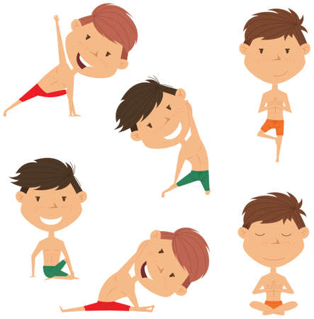 handsome boys: Male yoga vector collection. Handsome boys doing fitness exercises. Gymnastics for kids. Nice man in various workout poses. Sport healthy lifestyle. Illustration
