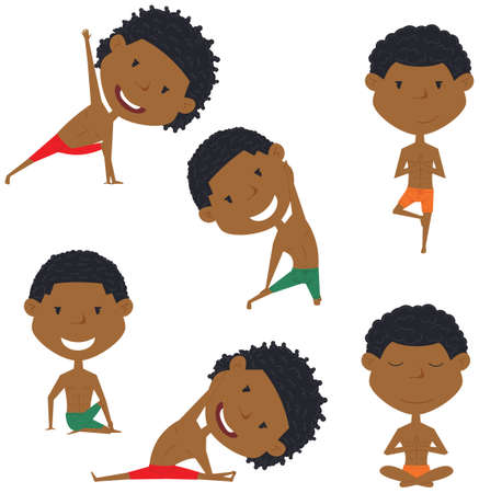 handsome boys: Male yoga vector collection. Handsome boys doing fitness exercises. Gymnastics for kids. African-American man in various workout poses. Sport healthy lifestyle. Illustration