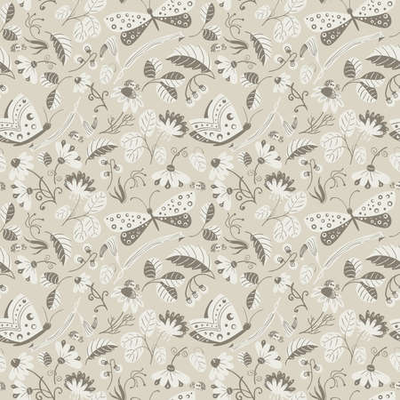 decorative wallpaper: Wallpaper with cartoon style insects and plants.  Decorative floral texture backdrop. Illustration