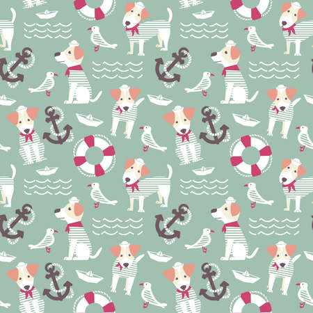frock: Sailor terrier dog seamless pattern.  Marine objects background with cute dogs. Sea theme with pets and birds wallpaper. Illustration