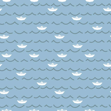wallpaper doodle: Paper boats and sea waves seamless pattern. Marine vector wallpaper. Simple doodle line background