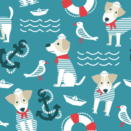 Sailor terrier dog seamless pattern.  Marine objects background with cute dogs. Sea theme with pets and birds wallpaper. 向量圖像