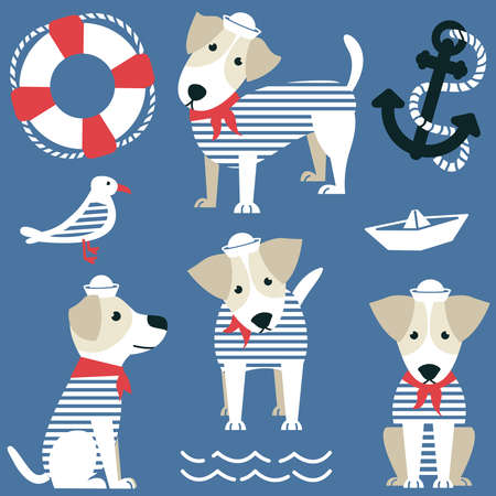 Terrier as a sailor and marine objects ison set. Cute dog dressed in a red bandana and white panama, gull, anchor, lifebuoy and paper boat vector collection.