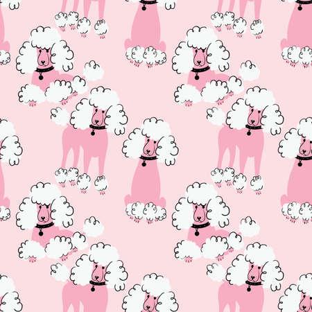 pedigreed: Cartoon doodle poodles seamless pattern. Cute purebred dogs wallpaper. Funny pets illustration. Illustration