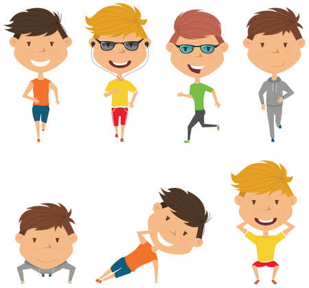 people  male: Running boys. Summer male workout exercise: jogging, squats, side plank and push ups.  Fitness sport people vector set. Active healthy training outside.