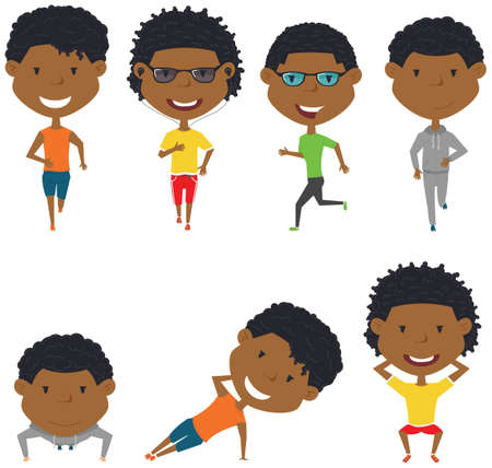 people  male: Running African-American boys. Summer male workout exercise: jogging, squats, side plank and push ups.  Fitness sport people vector set. Active healthy training outside. Illustration