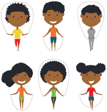 Cute African-American boys and girls skipping vector set. Kids do fitness exercises with jumping rope. Active healthy people lifestyle.