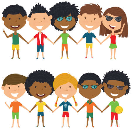 people  male: Multiracial people standing and holding hands. Vector set of multicultural happy boys and girls. Collection of cute female and male characters. Happy teenagers on summer vacation.
