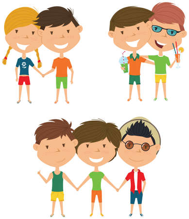 male friends: Summer people standing and holding hands. Vector set of happy boys and girls. Collection of cute female and male characters. Smiling friends on summer vacation. Illustration