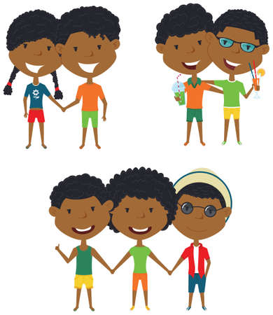 male friends: Summer  African-American people standing and holding hands. Vector set of happy boys and girls. Collection of cute female and male characters. Smiling friends on summer vacation.