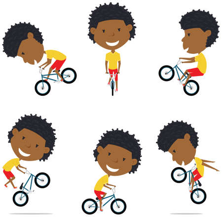BMX Bike African American Rider Boy.  Bicycle activity: cycling, jumping, tricks. Extreme sport racer vector flat style illustration