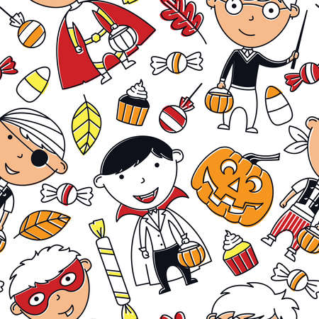halloween background: Happy boys in Halloween costumes with sweets seamless pattern. Holidays backdrop with toddlers and candies. Vector background with cartoon characters: vampire, wizard,  pirate and superhero.