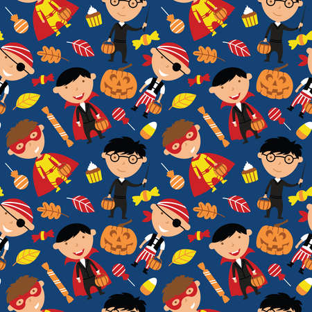 Happy boys in Halloween costumes with sweets seamless pattern. Holidays backdrop with toddlers and candies. Vector background with cartoon characters: vampire, wizard,  pirate and superhero.