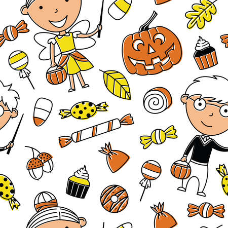 Happy girl and boy in Halloween costumes with sweets seamless pattern. Holidays backdrop with toddlers and candies. Vector background with cartoon characters of devil and vampire. Illustration