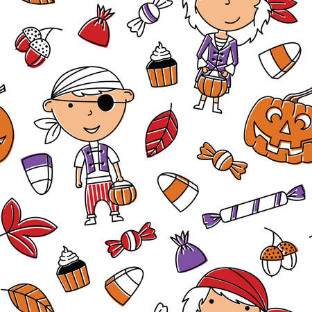 Happy girl and boy in Halloween costumes with sweets seamless pattern. Holidays backdrop with toddlers and candies. Vector background with cartoon characters of pirates.