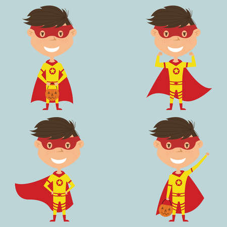 Vector set with Superhero boy in a mask and cloak. Teen with trendy costume for Halloween party. Child collect sweets. Illustration