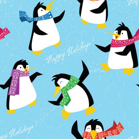 Xmas penguins in a bright scarfs dancing on ice floe seamless pattern. Winter cute animals background. Colorful holidays wallpaper with lettering Happy Holidays. Illustration