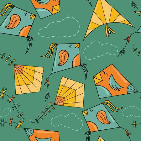 凧のような鳥のシームレスなパターン。カラフルなおもちゃと雲が飛んでベクトルの背景。